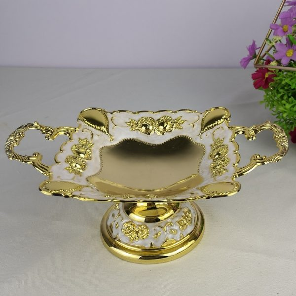 gold plated metal snack tray