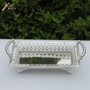 Luxury Silver Plated Metal Tray